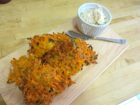 Carrot Fritters with Caramelized Shallot Creme Fraiche by somethingwewhippedup.com