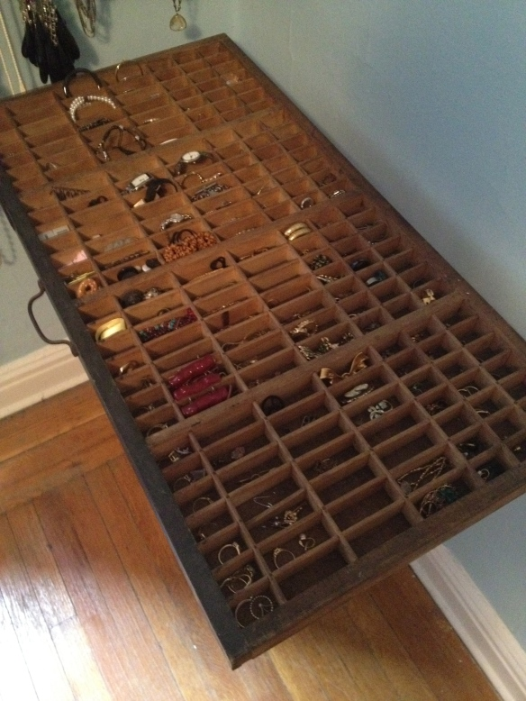 Antique Letterpress Tray Jewelry Storage by somethingwewhippedup.com