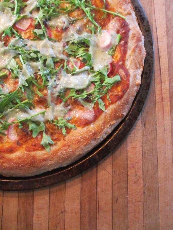 Caramelized Shallot, Radish and Arugula Pizza by somethingwewhippedup.com