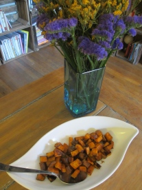Serving the Bourbon-Maple Roasted Sweet Potatoes by somethingwewhippedup.com